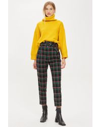 TOPSHOP - Textured Check Tapered Trousers - Lyst