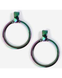 TOPSHOP - petrol Knocker Hoop Earrings - Lyst