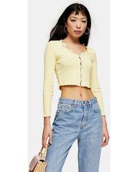 TOPSHOP Petite Yellow Ribbed Lace Cardigan