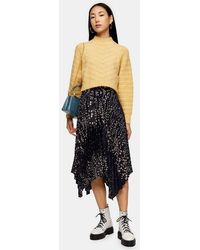 TOPSHOP Black Floral Belted Pleated Midi Skirt