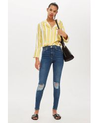 TOPSHOP - Tall Rich Blue Ripped Jamie Jeans - Lyst