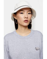 TOPSHOP Piped Bucket Hat In White