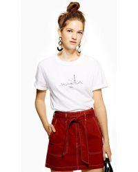 TOPSHOP - Petite Paris Embroidered Skyline T-shirt - Lyst