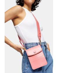 TOPSHOP Rosa Umhängetasche mit Ziernaht - Pink