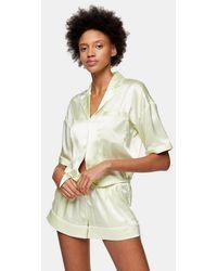 TOPSHOP Green Tie Satin Pyjama Set