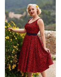 Miss Candyfloss 50s Flava Rose Swing Dress - Rood