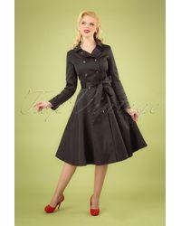 Collectif Clothing 40s Korrina Swing Trench Coat - Zwart
