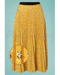 Closet 50s Marilyn Floral Pleated Skirt - Geel