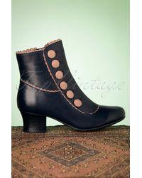 Miz Mooz 40s Fido Leather Ankle Booties - Blauw