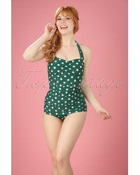 Esther Williams Swimwear 50s Classic Sheat Polkadot Swimsuit - Groen