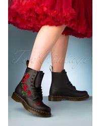 Dr. Martens 1460 Vonda Softie Red Floral Boots - Zwart