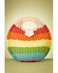 Collectif Clothing 50s Julie Rainbow Wicker Bag - Geel