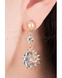 Louche 50s Merari Crystal Drop Earrings - Metallic