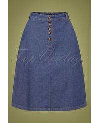 King Louie 60s High Waist Chambray Button Skirt - Blauw