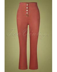King Louie 70s High Waisted Sturdy Pocket Pants - Rood