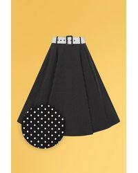 Collectif Clothing 50s Clair Mini Polka Dot Swing Skirt - Zwart