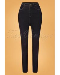 Collectif Clothing 50s Lulu Skinny Jeans - Zwart
