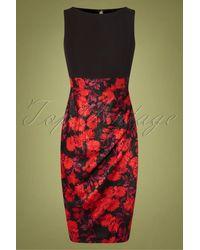 Closet 60s Denice Floral Pencil Dress - Rood