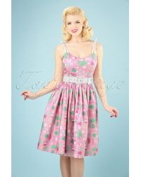 Collectif Clothing 50s Jade Summer Flamingo Swing Dress - Roze