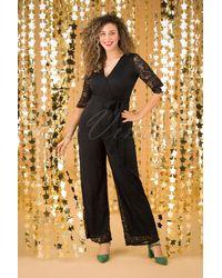 vintage chic for topvintage 50s Bente Lace Jumpsuit - Zwart