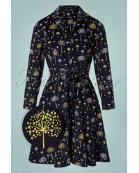 Circus by Sam Edelman Topvintage Exclusive ~ 60s Emilia Discoflower Dress - Blauw