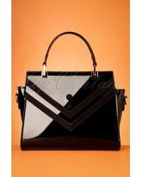 Banned Retro 50s Serene Waters Patent Handbag - Zwart