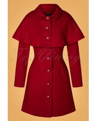 Collectif Clothing 60s Haddie Cape Coat - Rood