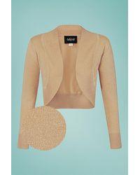 Collectif Clothing 50s Jean Lurex Knitted Bolero - Naturel
