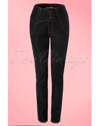 Collectif Clothing 50s Rebel Kate High Waist Denim Pants - Zwart