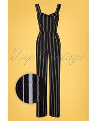 Banned Retro 50s Sailor Stripes Jumpsuit - Zwart