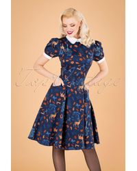 Collectif Clothing 50s Peta Forest Friends Swing Dress - Blauw