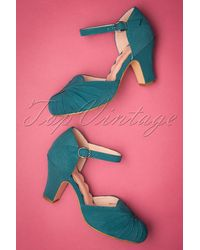 Miss L-fire 40s Amber Suede Mary Jane Pumps - Blauw