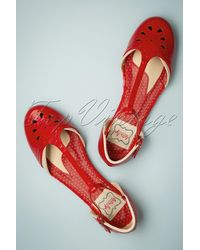 Bettie Page 50s Nancy T-strap Flats - Rood