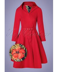 Miss Candyfloss 50s Lorily Rose Swing Trenchcoat - Rood