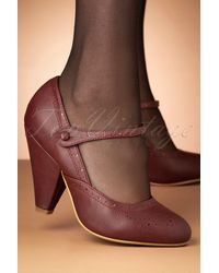 Bettie Page 50s Elanor Pumps - Rood