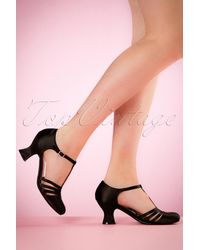 Bettie Page 50s Lucille T-strap Satin Pumps - Zwart