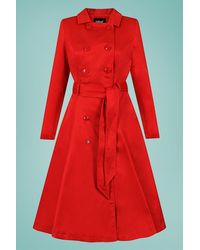 Collectif Clothing 40s Korrina Swing Trench Coat - Rood
