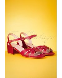 Miss L-fire 60s Isla Low Heel Sandals - Rood