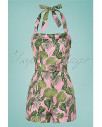Collectif Clothing 50s Jojo Forest Playsuit - Groen