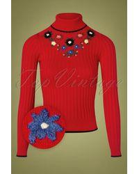 King Louie 60s Cheri Fleur Turtleneck Sweater - Rood
