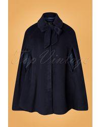 Collectif Clothing 50s Caroline Cape Coat - Blauw