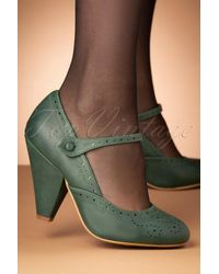 Bettie Page 50s Elanor Pumps - Groen