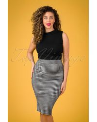 vintage chic for topvintage 50s Luana Gingham Pencil Skirt - Zwart