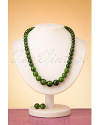 Collectif Clothing 50s Natalie Bead Necklace Set - Groen
