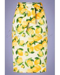 Banned Retro 50s Lemon Pencil Skirt - Geel