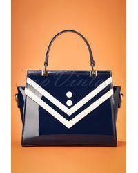 Banned Retro 50s Serene Waters Patent Handbag - Blauw