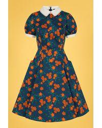Collectif Clothing 50s Peta Flora Swing Dress - Blauw
