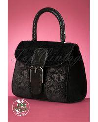 Ruby Shoo 60s Riva Velvet Handbag - Zwart