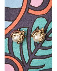 Louche 50s Lady Bug Stud Earrings - Metallic
