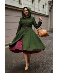Miss Candyfloss 50s Loris Olive Swing Trench Coat - Groen